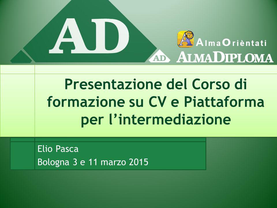 A lma O rièntati Presentazione del Corso di formazione su CV e Piattaforma per l'intermediazione Elio Pasca Bologna 3 e 11 marzo 2015