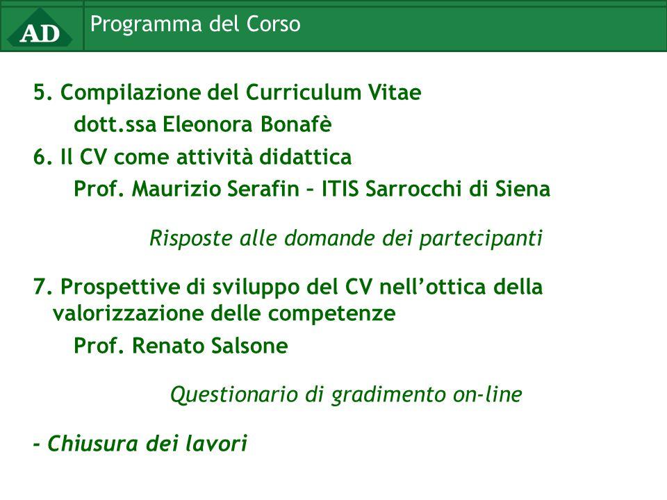 Programma del Corso 5. Compilazione del Curriculum Vitae dott.ssa Eleonora Bonafè 6. Il CV come attività didattica Prof. Maurizio Serafin – ITIS Sarro