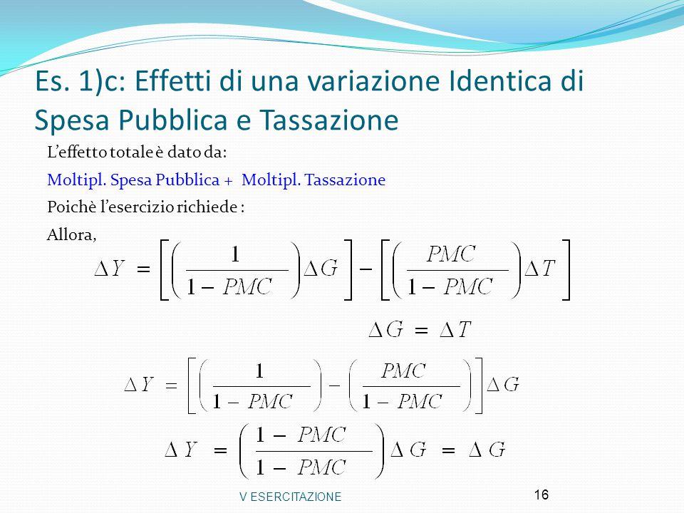V ESERCITAZIONE 16 Es. 1)c: Effetti di una variazione Identica di Spesa Pubblica e Tassazione L'effetto totale è dato da: Moltipl. Spesa Pubblica + Mo
