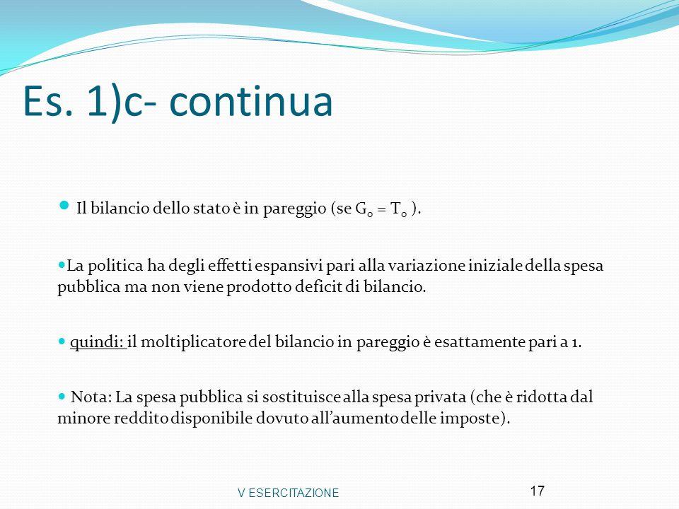 V ESERCITAZIONE 17 Es. 1)c- continua Il bilancio dello stato è in pareggio (se G 0 = T 0 ). La politica ha degli effetti espansivi pari alla variazion