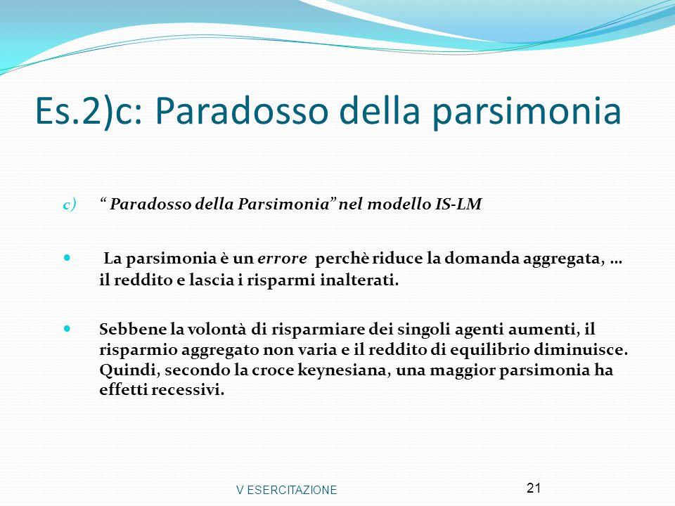 """V ESERCITAZIONE 21 Es.2)c: Paradosso della parsimonia c) """" Paradosso della Parsimonia"""" nel modello IS-LM La parsimonia è un errore perchè riduce la do"""