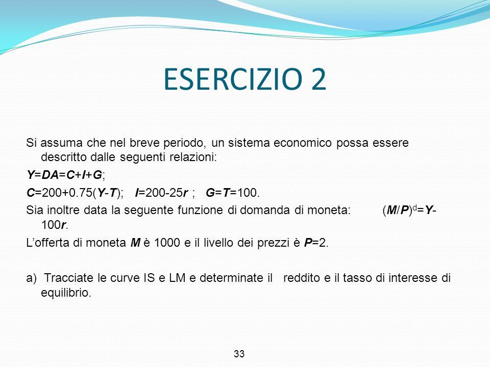 33 ESERCIZIO 2 Si assuma che nel breve periodo, un sistema economico possa essere descritto dalle seguenti relazioni: Y=DA=C+I+G; C=200+0.75(Y-T); I=2