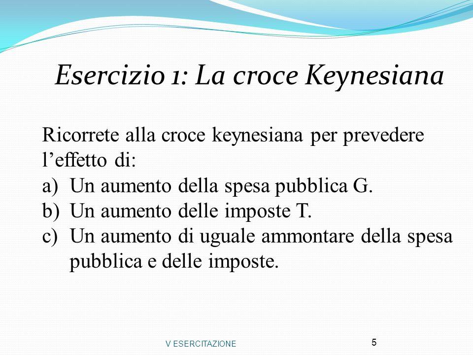 V ESERCITAZIONE 5 Esercizio 1: La croce Keynesiana Ricorrete alla croce keynesiana per prevedere l'effetto di: a)Un aumento della spesa pubblica G. b)