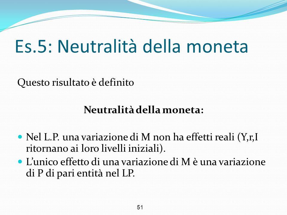 51 Es.5: Neutralità della moneta Questo risultato è definito Neutralità della moneta: Nel L.P. una variazione di M non ha effetti reali (Y,r,I ritorna