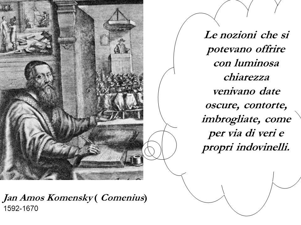 Jan Amos Komensky ( Comenius) 1592-1670 Le nozioni che si potevano offrire con luminosa chiarezza venivano date oscure, contorte, imbrogliate, come per via di veri e propri indovinelli.