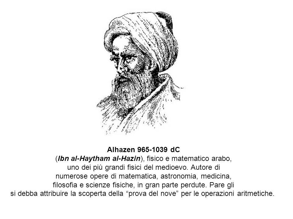 Alhazen 965-1039 dC (Ibn al-Haytham al-Hazin), fisico e matematico arabo, uno dei più grandi fisici del medioevo.