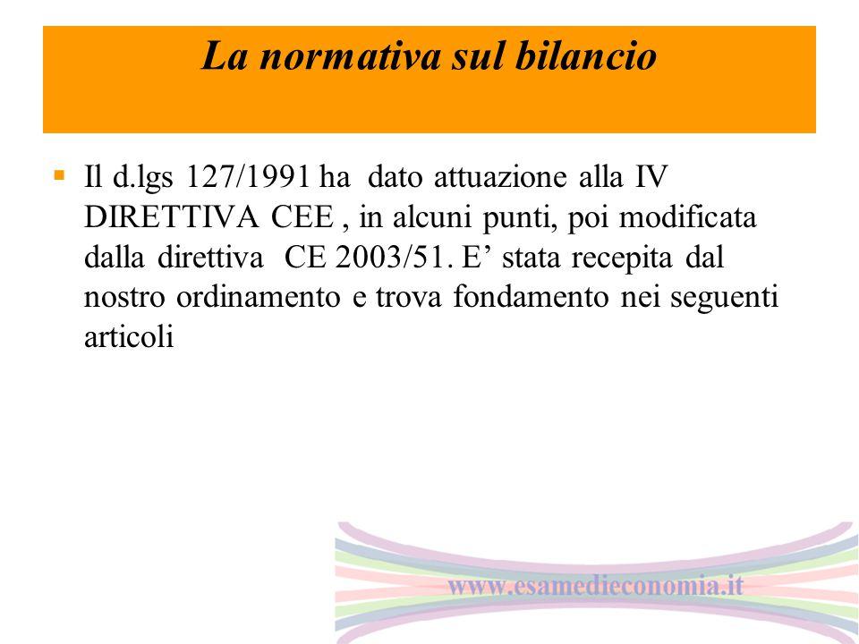 La normativa sul bilancio  Il d.lgs 127/1991 ha dato attuazione alla IV DIRETTIVA CEE, in alcuni punti, poi modificata dalla direttiva CE 2003/51. E'