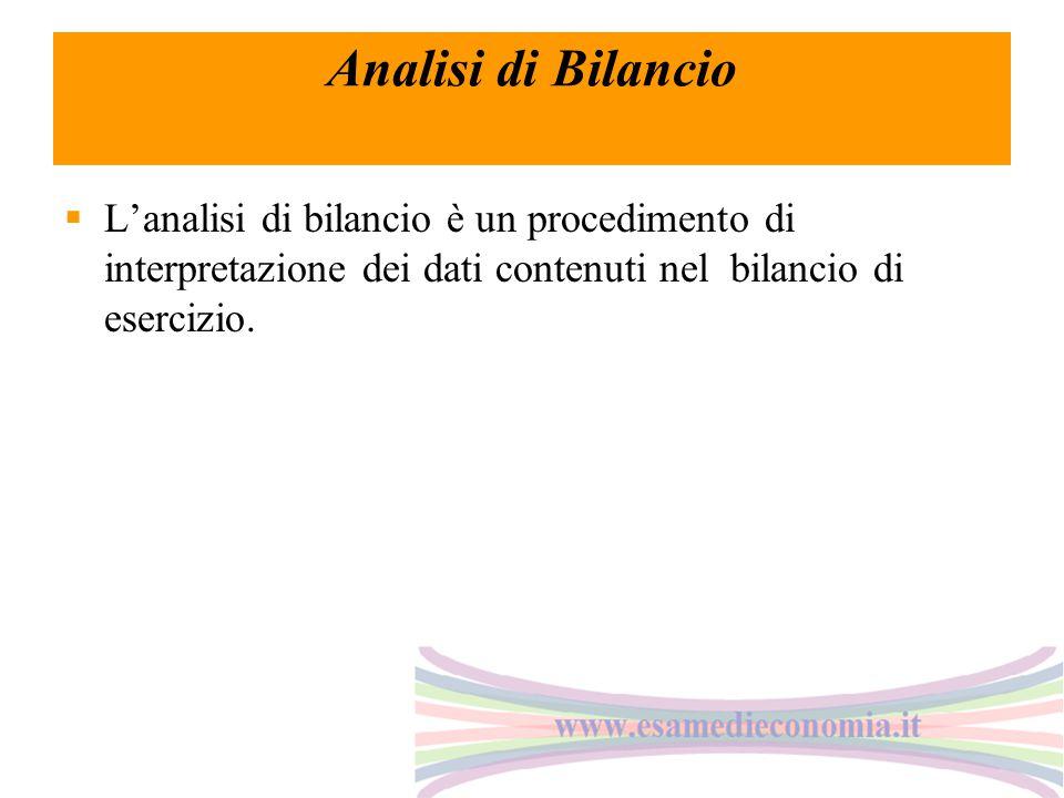Analisi di Bilancio  L'analisi di bilancio è un procedimento di interpretazione dei dati contenuti nel bilancio di esercizio.