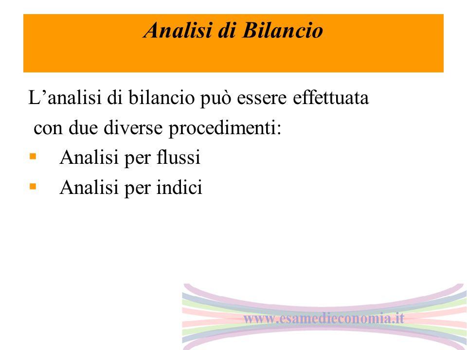 Analisi di Bilancio L'analisi di bilancio può essere effettuata con due diverse procedimenti:  Analisi per flussi  Analisi per indici