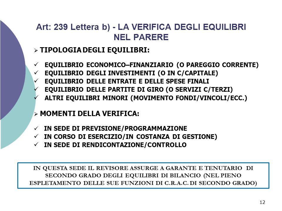 12 Art: 239 Lettera b) - LA VERIFICA DEGLI EQUILIBRI NEL PARERE  TIPOLOGIA DEGLI EQUILIBRI: EQUILIBRIO ECONOMICO–FINANZIARIO (O PAREGGIO CORRENTE) EQ