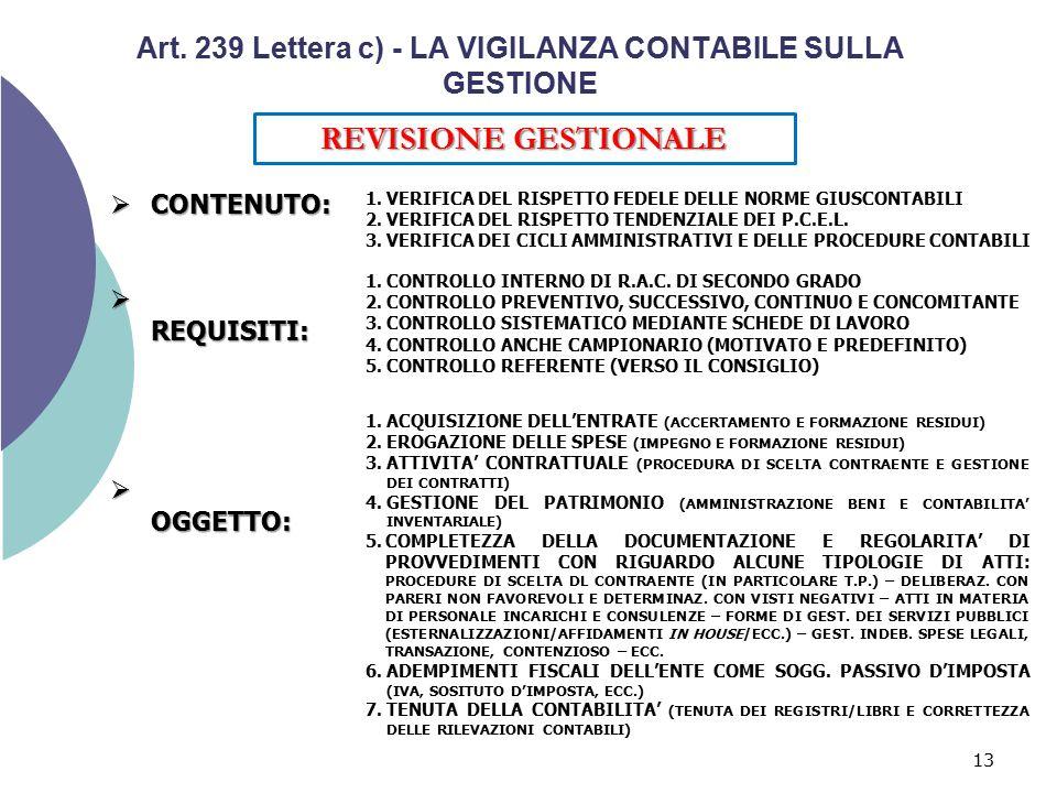 13 Art. 239 Lettera c) - LA VIGILANZA CONTABILE SULLA GESTIONE REVISIONE GESTIONALE  CONTENUTO:  REQUISITI:  OGGETTO: 1.VERIFICA DEL RISPETTO FEDEL