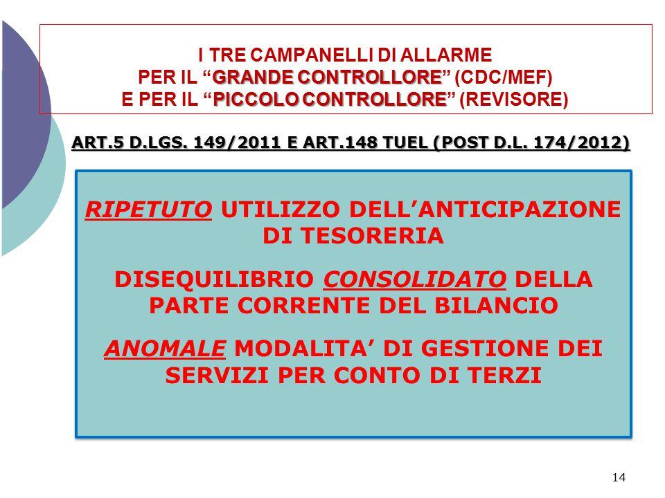 """GRANDE CONTROLLORE PICCOLO CONTROLLORE I TRE CAMPANELLI DI ALLARME PER IL """"GRANDE CONTROLLORE"""" (CDC/MEF) E PER IL """"PICCOLO CONTROLLORE"""" (REVISORE) 14"""