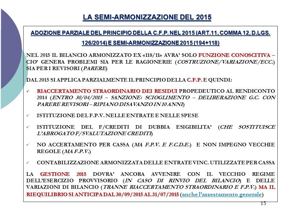 LA SEMI-ARMONIZZAZIONE DEL 2015 ADOZIONE PARZIALE DEL PRINCIPIO DELLA C.F.P. NEL 2015 (ART.11, COMMA 12, D.LGS. 126/2014) E SEMI-ARMONIZZAZIONE 2015 (