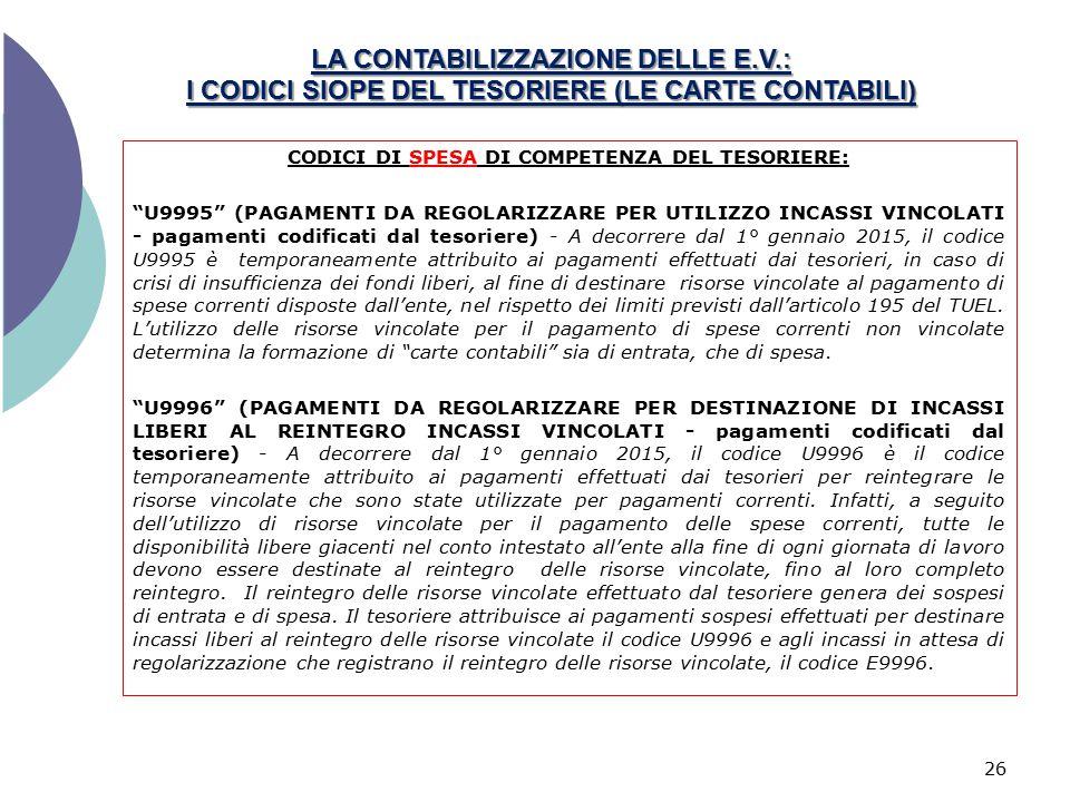 """LA CONTABILIZZAZIONE DELLE E.V.: I CODICI SIOPE DEL TESORIERE (LE CARTE CONTABILI) 26 CODICI DI SPESA DI COMPETENZA DEL TESORIERE: """"U9995"""" (PAGAMENTI"""