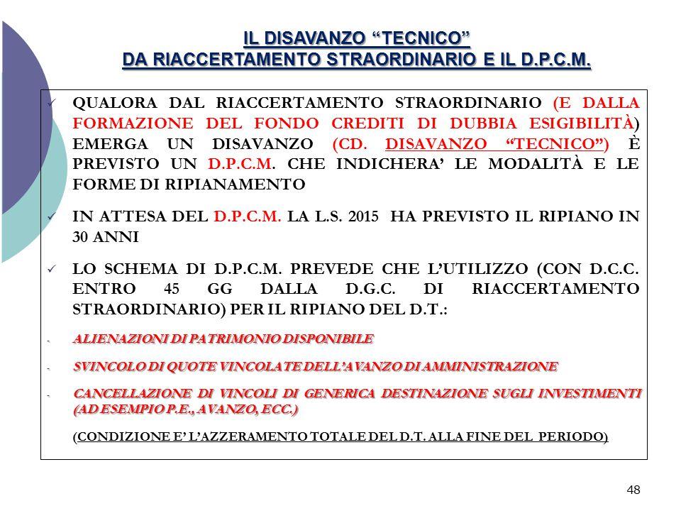 """IL DISAVANZO """"TECNICO"""" DA RIACCERTAMENTO STRAORDINARIO E IL D.P.C.M. QUALORA DAL RIACCERTAMENTO STRAORDINARIO (E DALLA FORMAZIONE DEL FONDO CREDITI DI"""