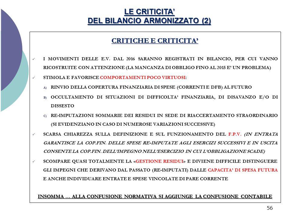 LE CRITICITA' DEL BILANCIO ARMONIZZATO (2) CRITICHE E CRITICITA' I MOVIMENTI DELLE E.V. DAL 2016 SARANNO REGISTRATI IN BILANCIO, PER CUI VANNO RICOSTR