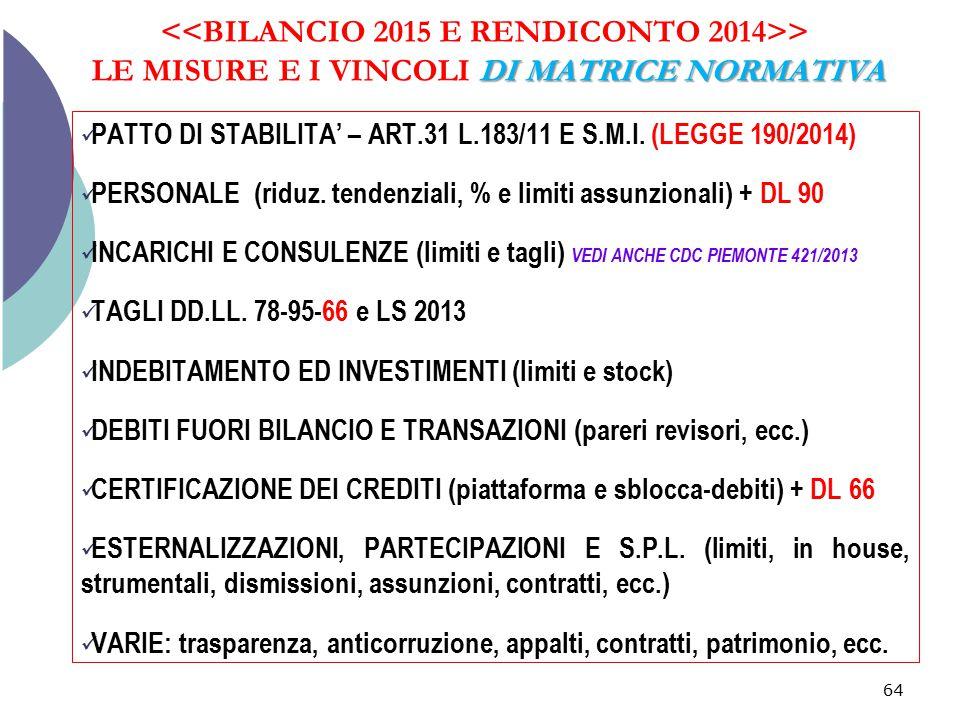 DI MATRICE NORMATIVA > LE MISURE E I VINCOLI DI MATRICE NORMATIVA 64 PATTO DI STABILITA' – ART.31 L.183/11 E S.M.I. (LEGGE 190/2014) PERSONALE (riduz.