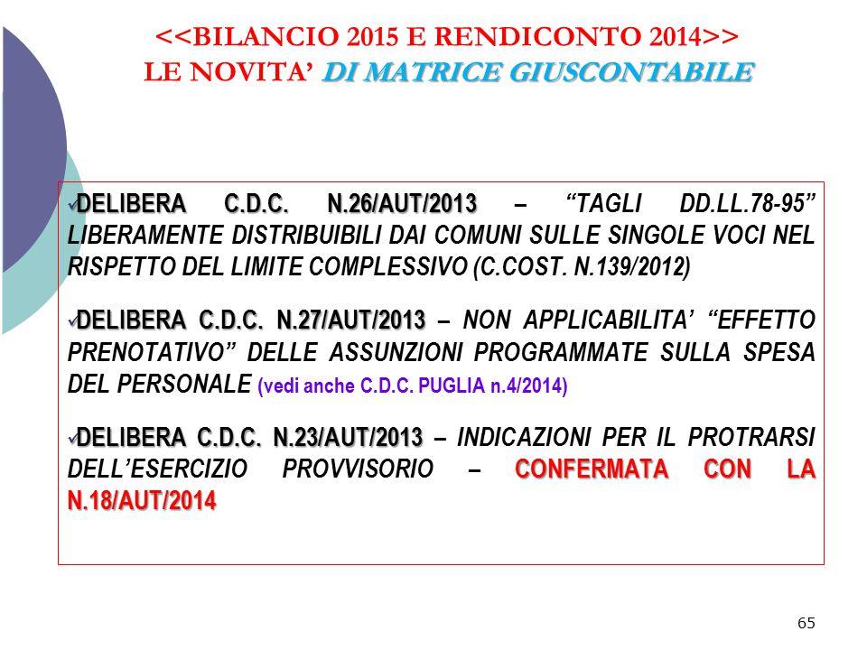 """DI MATRICE GIUSCONTABILE > LE NOVITA' DI MATRICE GIUSCONTABILE 65 DELIBERA C.D.C. N.26/AUT/2013 DELIBERA C.D.C. N.26/AUT/2013 – """"TAGLI DD.LL.78-95"""" LI"""