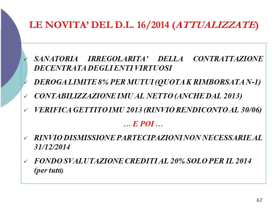 LE NOVITA' DEL D.L. 16/2014 (ATTUALIZZATE) SANATORIA IRREGOLARITA' DELLA CONTRATTAZIONE DECENTRATA DEGLI ENTI VIRTUOSI DEROGA LIMITE 8% PER MUTUI (QUO