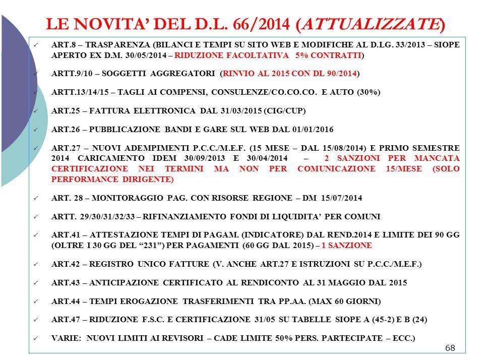 LE NOVITA' DEL D.L. 66/2014 (ATTUALIZZATE) ART.8 – TRASPARENZA (BILANCI E TEMPI SU SITO WEB E MODIFICHE AL D.LG. 33/2013 – SIOPE APERTO EX D.M. 30/05/