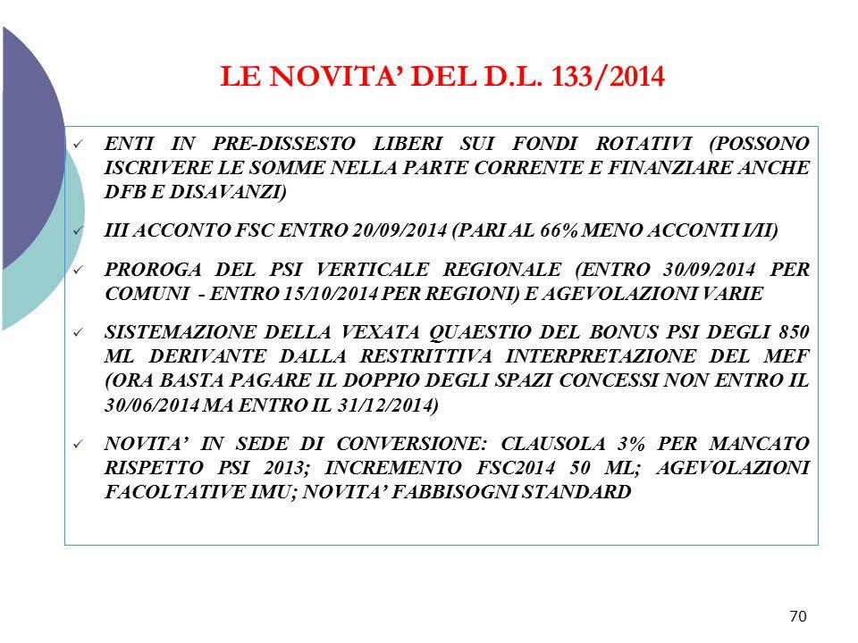 LE NOVITA' DEL D.L. 133/2014 ENTI IN PRE-DISSESTO LIBERI SUI FONDI ROTATIVI (POSSONO ISCRIVERE LE SOMME NELLA PARTE CORRENTE E FINANZIARE ANCHE DFB E
