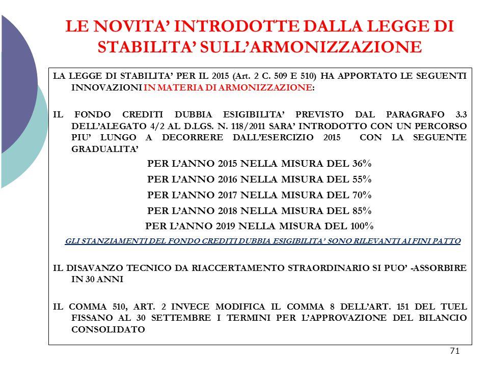 LE NOVITA' INTRODOTTE DALLA LEGGE DI STABILITA' SULL'ARMONIZZAZIONE LA LEGGE DI STABILITA' PER IL 2015 (Art. 2 C. 509 E 510) HA APPORTATO LE SEGUENTI