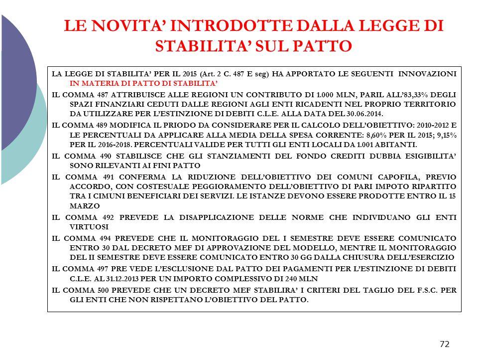 LE NOVITA' INTRODOTTE DALLA LEGGE DI STABILITA' SUL PATTO LA LEGGE DI STABILITA' PER IL 2015 (Art. 2 C. 487 E seg) HA APPORTATO LE SEGUENTI INNOVAZION