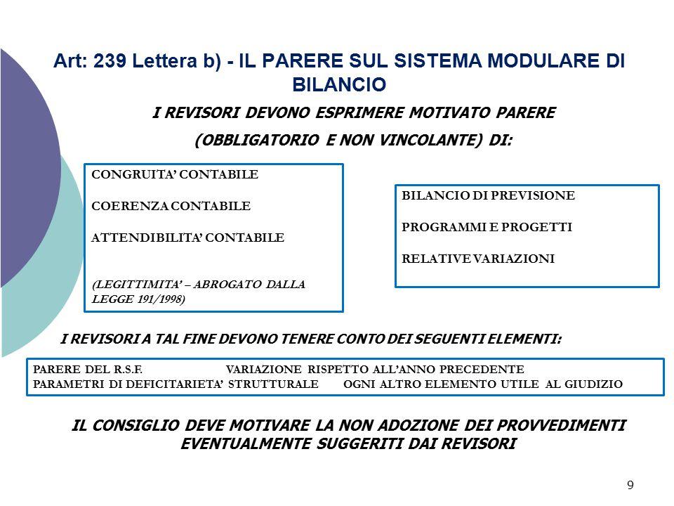 9 Art: 239 Lettera b) - IL PARERE SUL SISTEMA MODULARE DI BILANCIO I REVISORI DEVONO ESPRIMERE MOTIVATO PARERE (OBBLIGATORIO E NON VINCOLANTE) DI: CON
