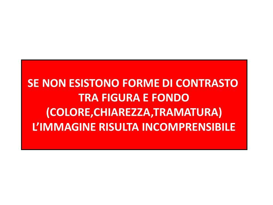 SE NON ESISTONO FORME DI CONTRASTO TRA FIGURA E FONDO (COLORE,CHIAREZZA,TRAMATURA) L'IMMAGINE RISULTA INCOMPRENSIBILE