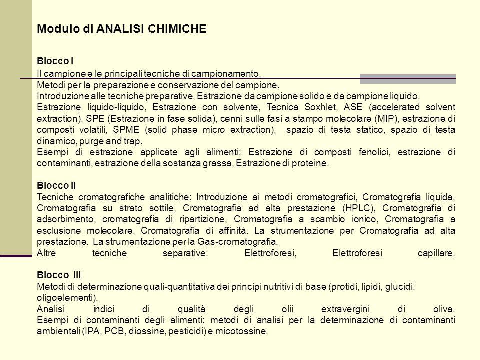 Modulo di ANALISI CHIMICHE Blocco I Il campione e le principali tecniche di campionamento. Metodi per la preparazione e conservazione del campione. In