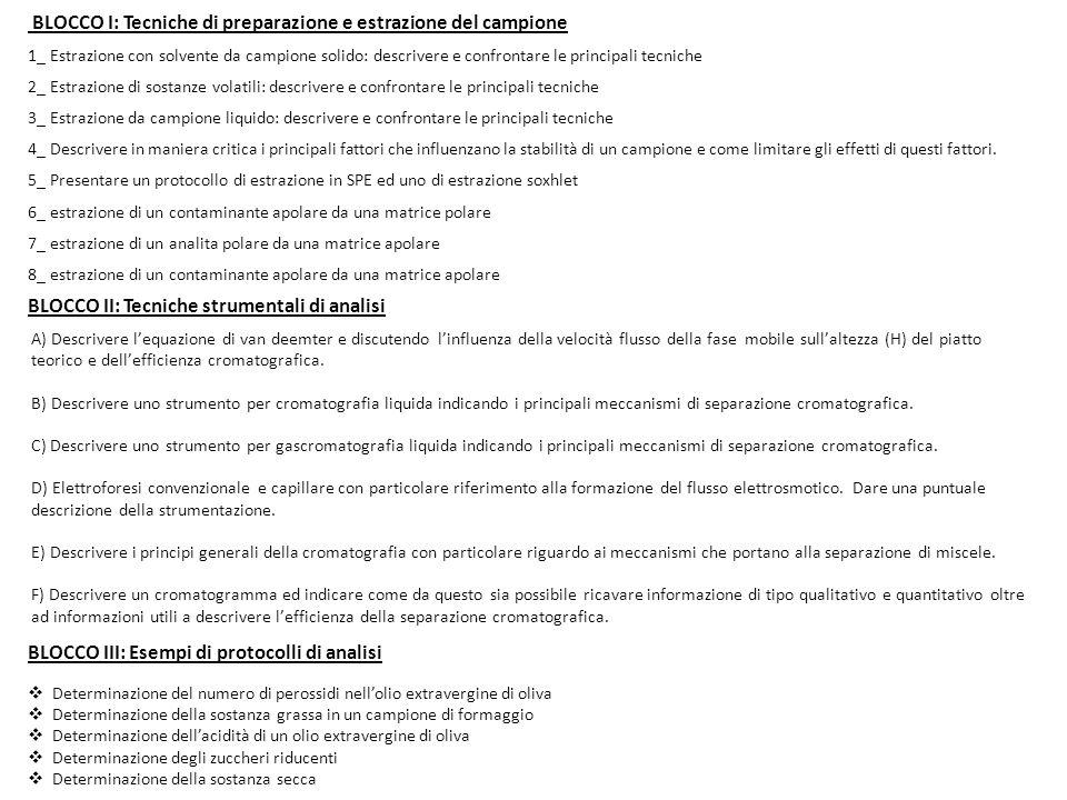 BLOCCO I: Tecniche di preparazione e estrazione del campione 1_ Estrazione con solvente da campione solido: descrivere e confrontare le principali tec