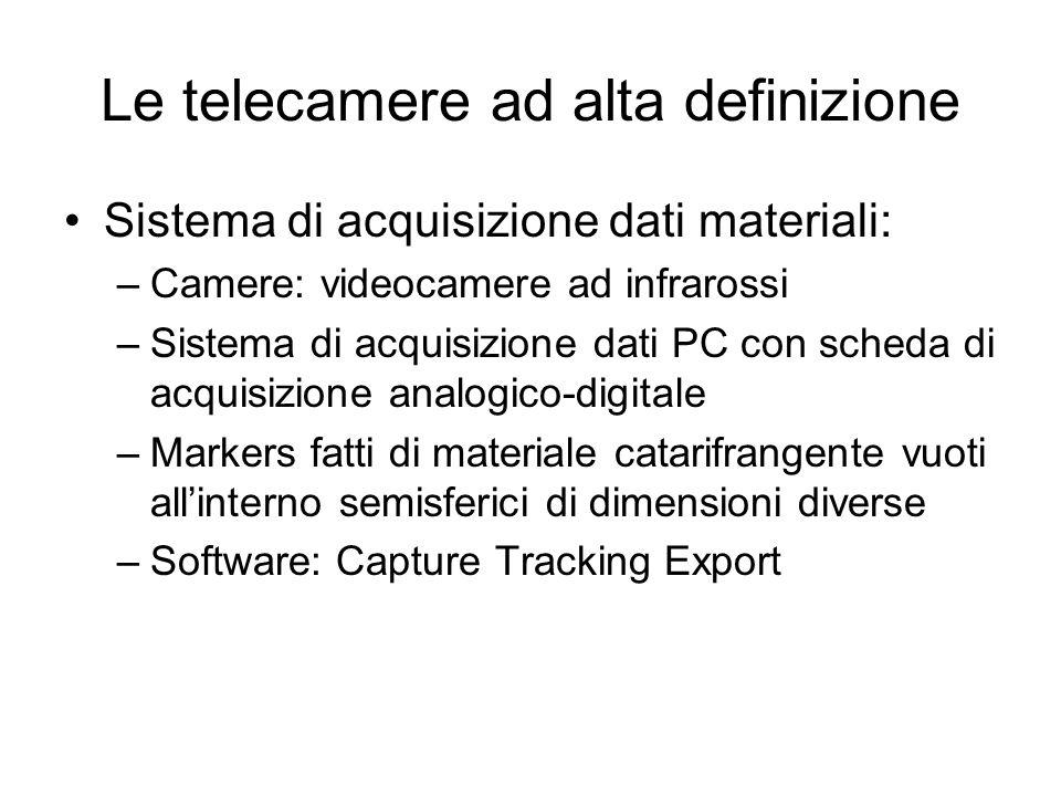 Le telecamere ad alta definizione Sistema di acquisizione dati materiali: –Camere: videocamere ad infrarossi –Sistema di acquisizione dati PC con sche