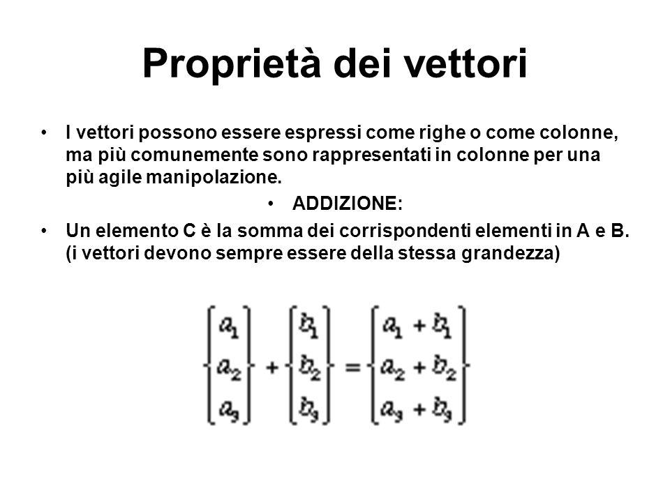 Proprietà dei vettori I vettori possono essere espressi come righe o come colonne, ma più comunemente sono rappresentati in colonne per una più agile