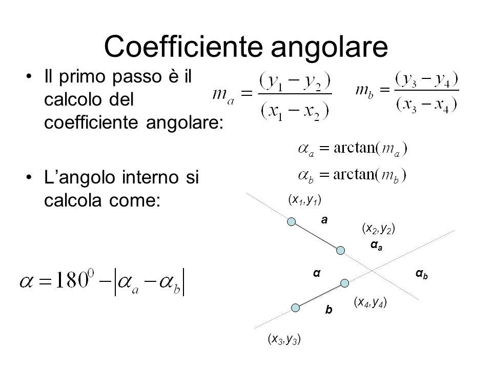 Coefficiente angolare Il primo passo è il calcolo del coefficiente angolare: L'angolo interno si calcola come: ααbαb αaαa a b (x 1,y 1 ) (x 2,y 2 ) (x