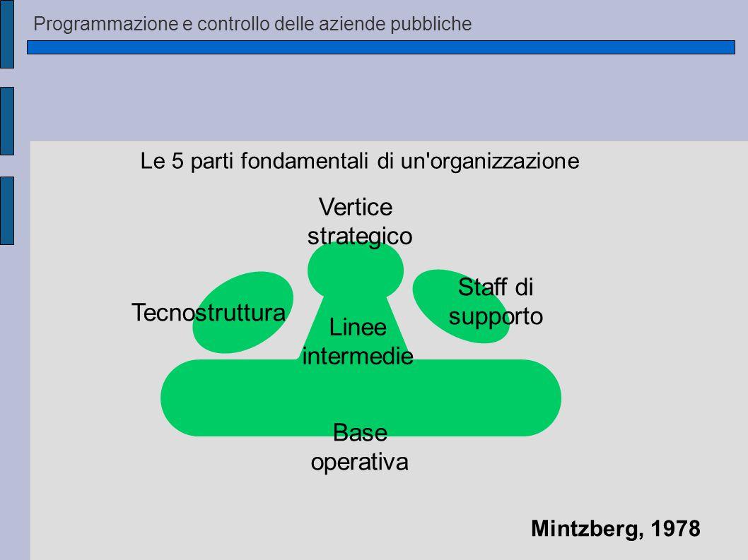 Programmazione e controllo delle aziende pubbliche Le 5 parti fondamentali di un organizzazione Staff di supporto Vertice strategico Linee intermedie Base operativa Tecnostruttura Mintzberg, 1978