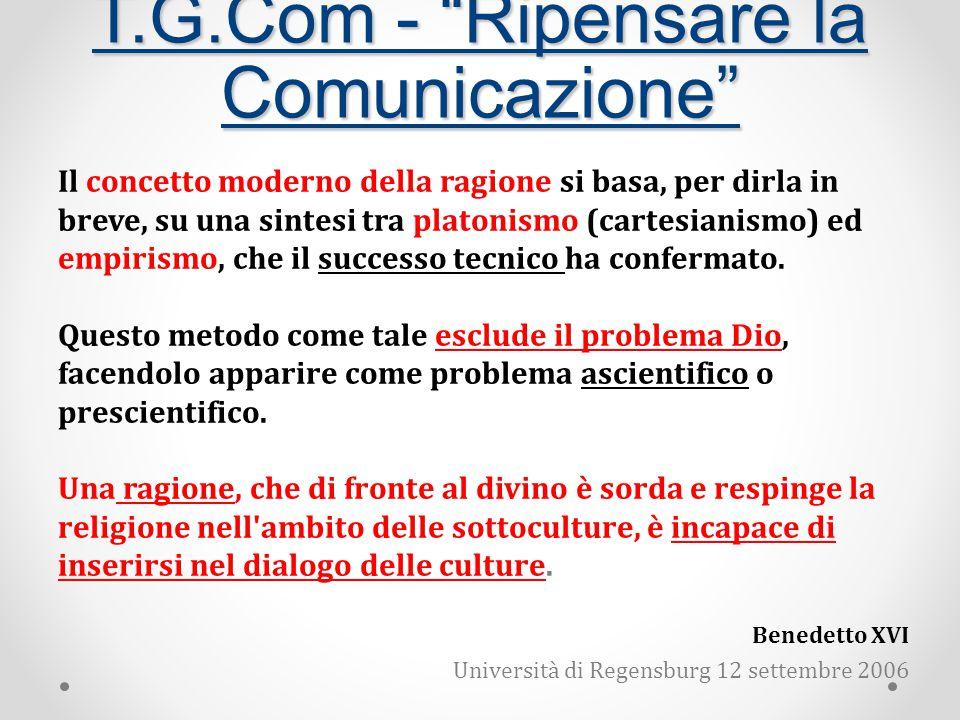 T.G.Com - Ripensare la Comunicazione Il concetto moderno della ragione si basa, per dirla in breve, su una sintesi tra platonismo (cartesianismo) ed empirismo, che il successo tecnico ha confermato.