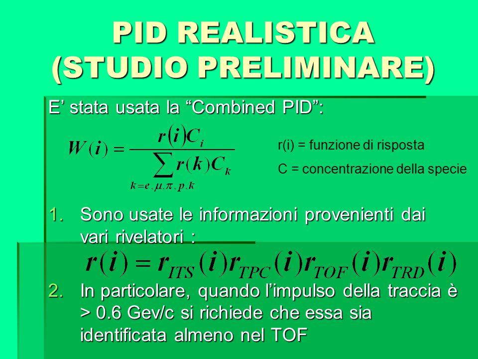 """PID REALISTICA (STUDIO PRELIMINARE) E' stata usata la """"Combined PID"""": 1.Sono usate le informazioni provenienti dai vari rivelatori : 2.In particolare,"""