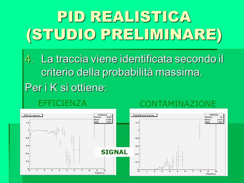 PID REALISTICA (STUDIO PRELIMINARE) 4.La traccia viene identificata secondo il criterio della probabilità massima. Per i K si ottiene: EFFICIENZA CONT