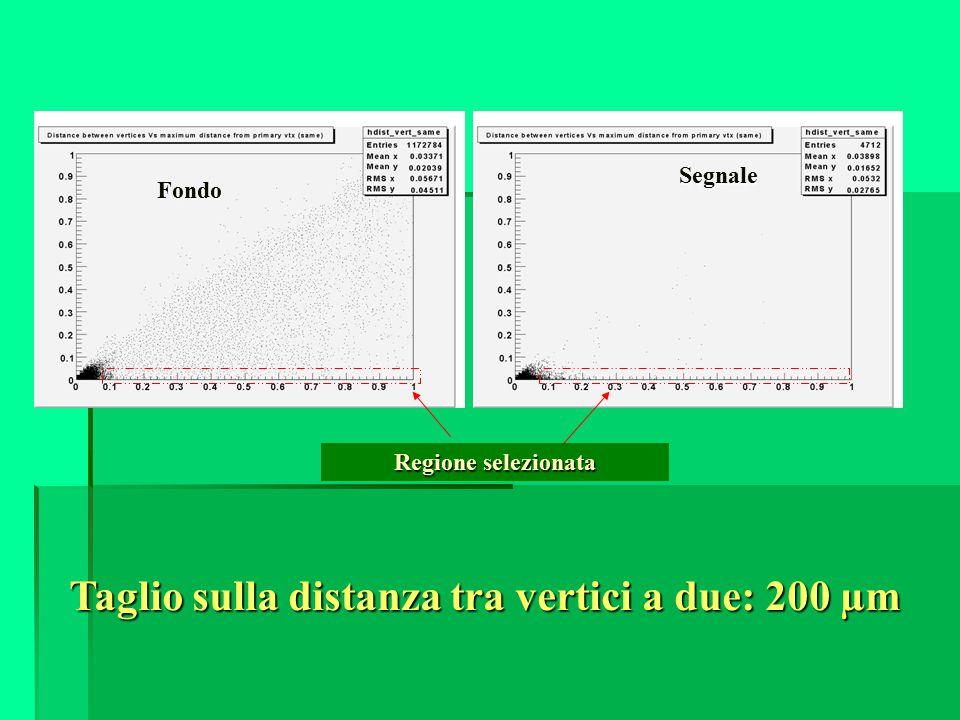 Fondo Segnale Regione selezionata Taglio sulla distanza tra vertici a due: 200 µm