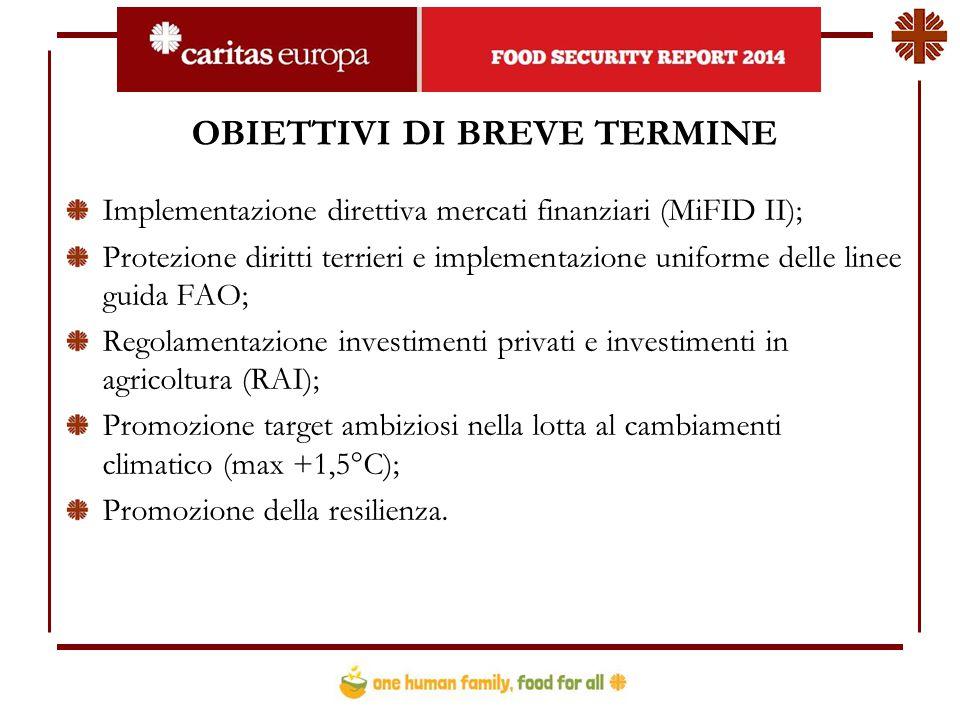 OBIETTIVI DI BREVE TERMINE Implementazione direttiva mercati finanziari (MiFID II); Protezione diritti terrieri e implementazione uniforme delle linee guida FAO; Regolamentazione investimenti privati e investimenti in agricoltura (RAI); Promozione target ambiziosi nella lotta al cambiamenti climatico (max +1,5°C); Promozione della resilienza.