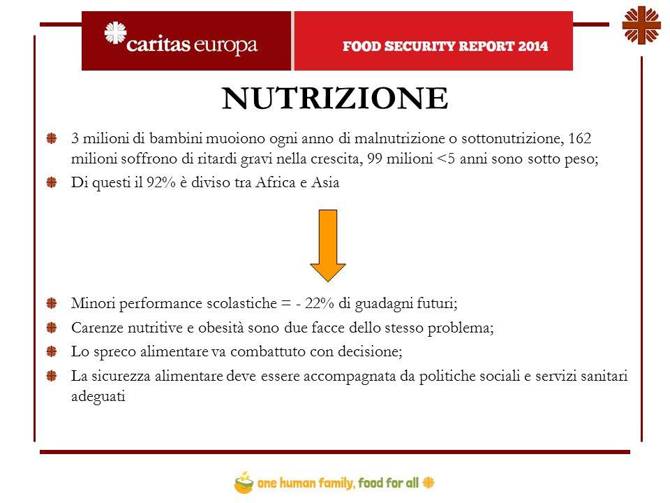 NUTRIZIONE 3 milioni di bambini muoiono ogni anno di malnutrizione o sottonutrizione, 162 milioni soffrono di ritardi gravi nella crescita, 99 milioni