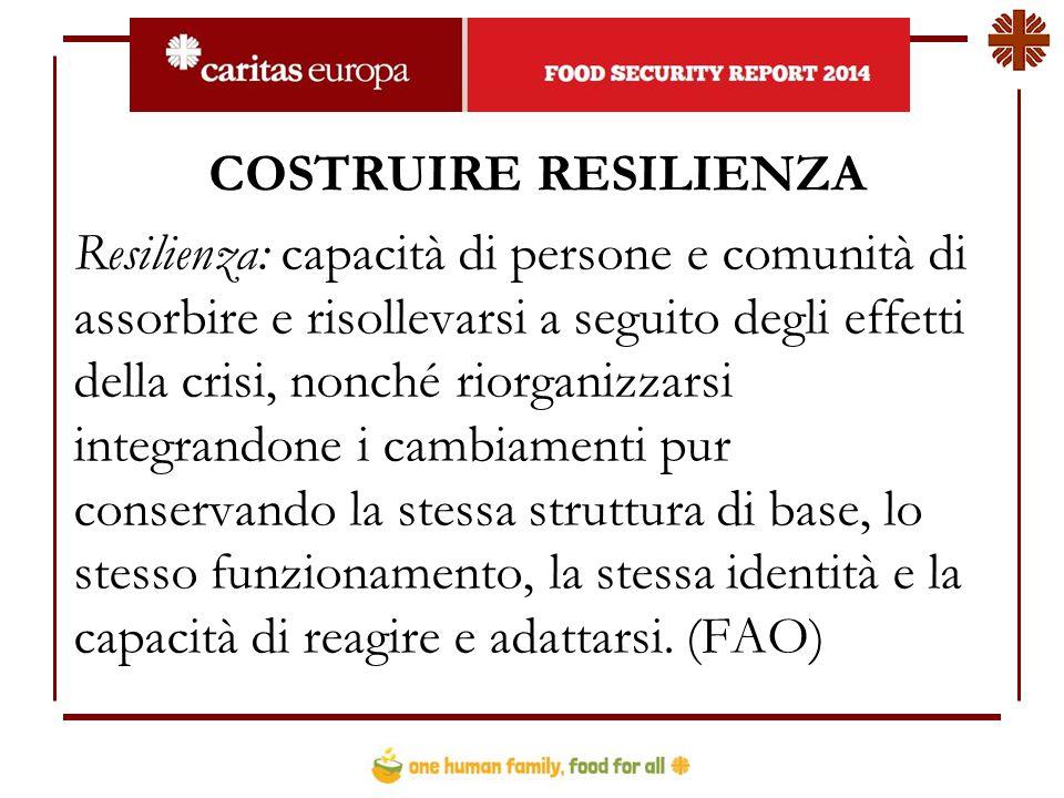 COSTRUIRE RESILIENZA Resilienza: capacità di persone e comunità di assorbire e risollevarsi a seguito degli effetti della crisi, nonché riorganizzarsi