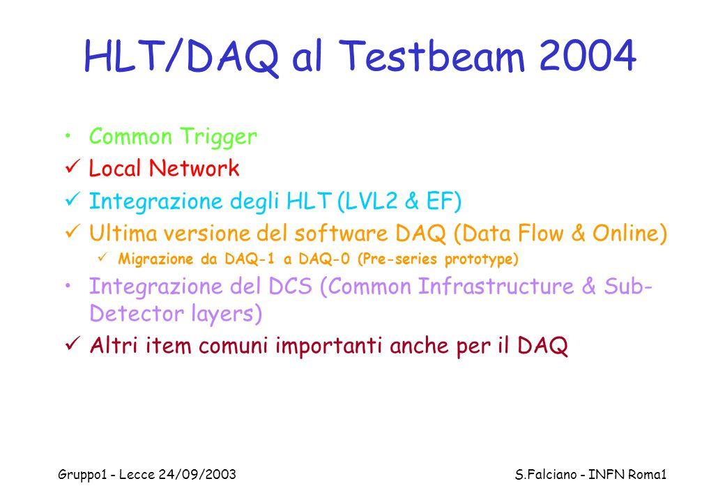 Gruppo1 - Lecce 24/09/2003 S.Falciano - INFN Roma1 HLT/DAQ al Testbeam 2004 Common Trigger Local Network Integrazione degli HLT (LVL2 & EF) Ultima ver