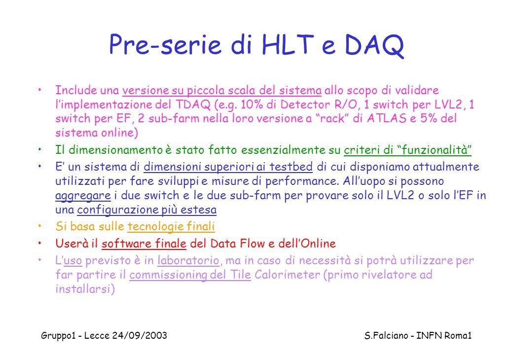 Gruppo1 - Lecce 24/09/2003 S.Falciano - INFN Roma1 Pre-serie di HLT e DAQ Include una versione su piccola scala del sistema allo scopo di validare l'i
