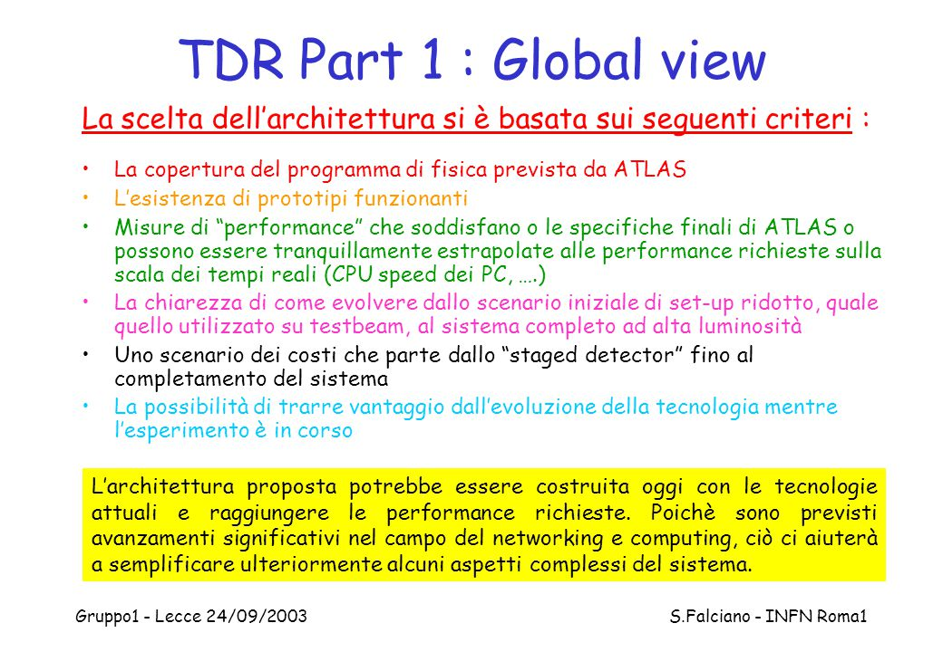 Gruppo1 - Lecce 24/09/2003 S.Falciano - INFN Roma1 Operator IF Data Viewer Alarm IF Config DB Conditions DB DCS_IS DIP Magnet CERN LHC DSS DAQ IS DAQ MRS DAQ RC DCS Back-End Architecture CIC Global Control Station (GCS) Tile PixelSCTTRTLArMDTTGCRPC(CSC) OPC LCS EB- LCS B- LCS B+ LCS EB+ CoolingLVHVMisc.