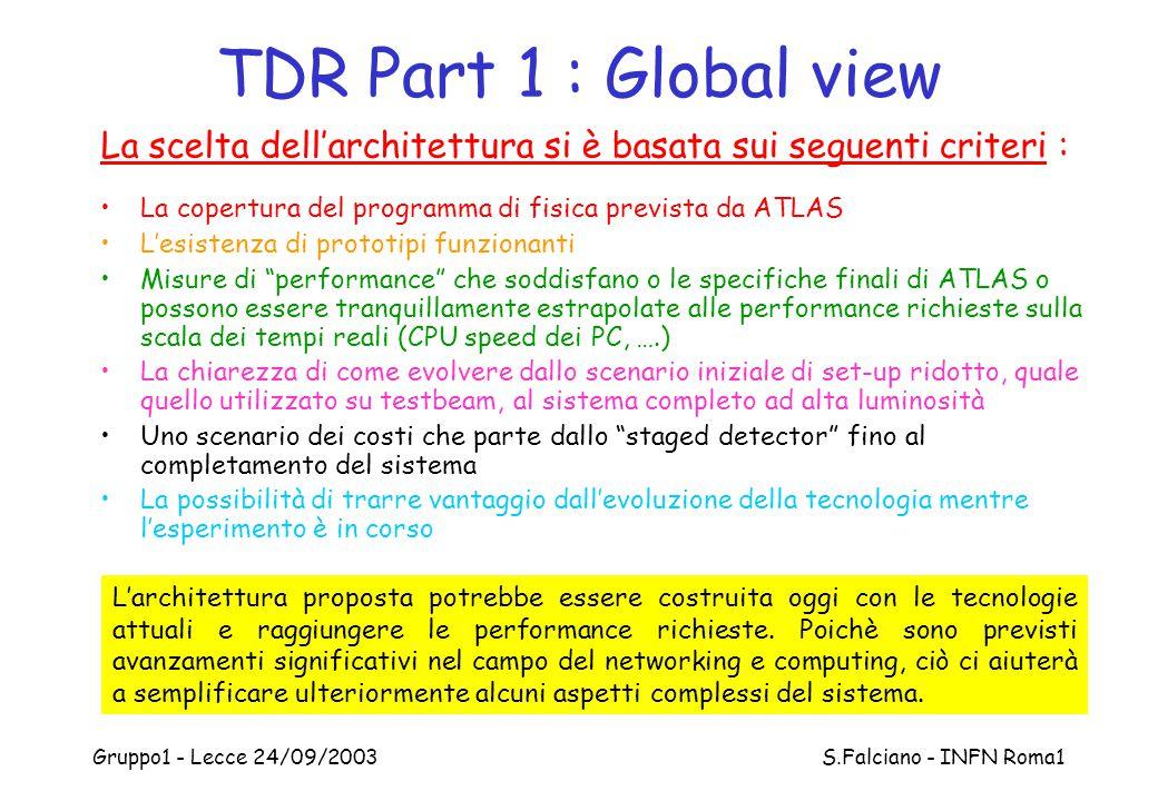 Gruppo1 - Lecce 24/09/2003 S.Falciano - INFN Roma1 TDR Part 1 : Global view La scelta dell'architettura si è basata sui seguenti criteri : La copertur