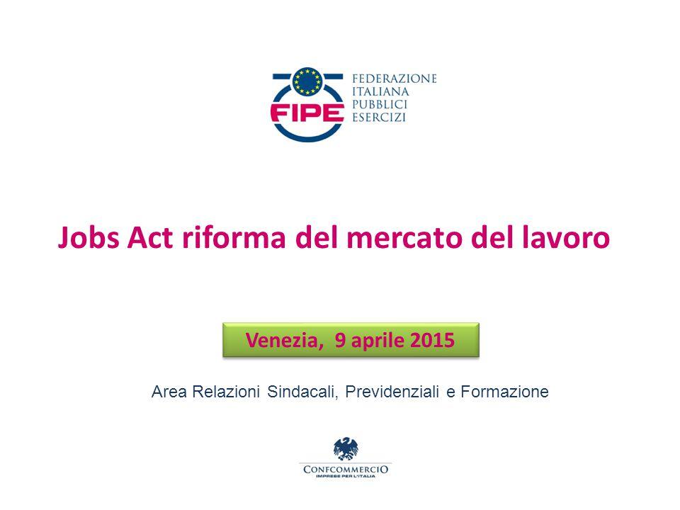 Venezia, 9 aprile 2015 Jobs Act riforma del mercato del lavoro Area Relazioni Sindacali, Previdenziali e Formazione