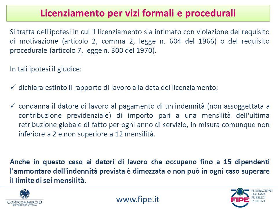 www.fipe.it Licenziamento per vizi formali e procedurali Si tratta dell'ipotesi in cui il licenziamento sia intimato con violazione del requisito di m