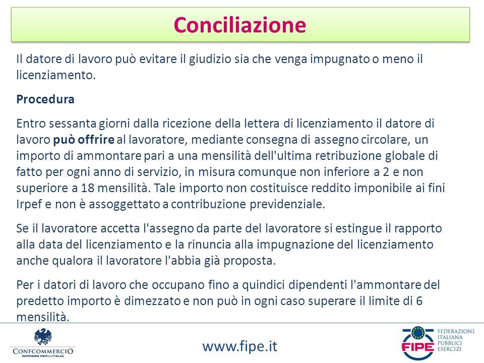 www.fipe.it Conciliazione Il datore di lavoro può evitare il giudizio sia che venga impugnato o meno il licenziamento. Procedura Entro sessanta giorni