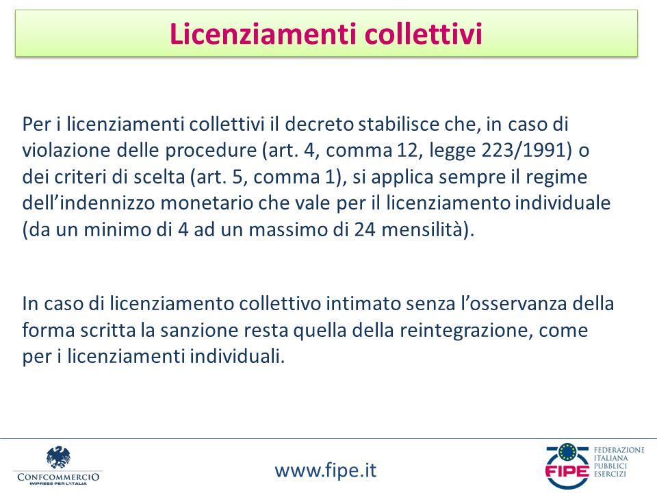 www.fipe.it Licenziamenti collettivi Per i licenziamenti collettivi il decreto stabilisce che, in caso di violazione delle procedure (art. 4, comma 12